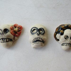 Set of 3 Handmade Day of the Dead Small Wall Decor